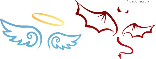Angel and devil wings vector material