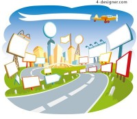 Cartoon urban scene vector material