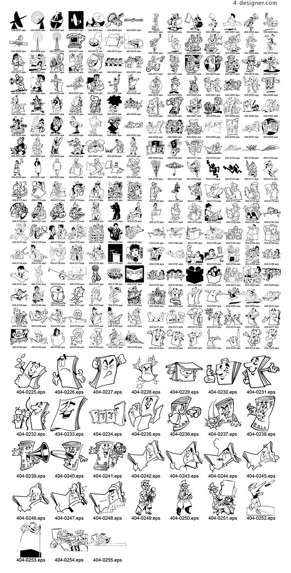 Classic black and white cartoons vector material