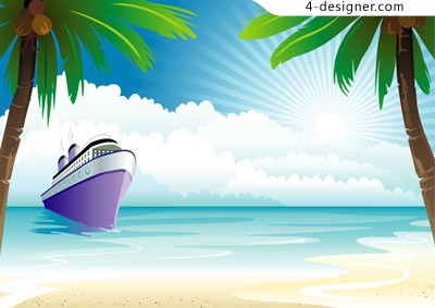 Cruise ship on the sea vector material