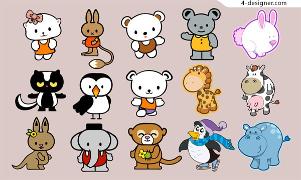 Cute cartoon animals vector material
