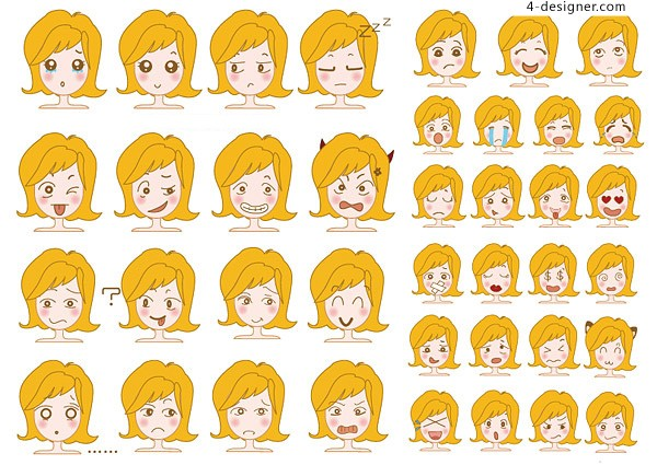 Cute girl picture vector material