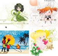 Cute illustrator of children vector material