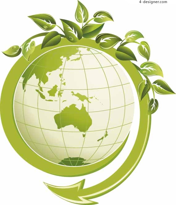 Green leaves and Earth vector material