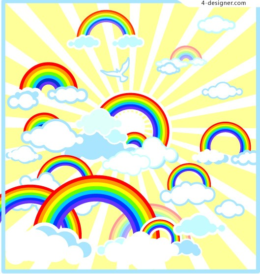 Lovely rainbow illustration vector material
