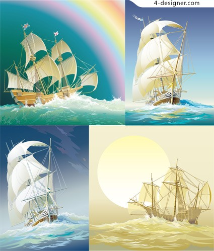 Vector Old sailboat vector material