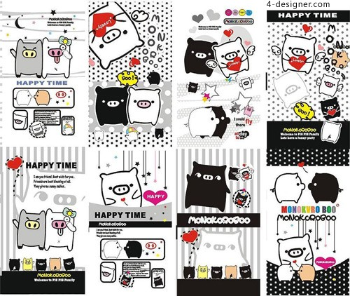 Vector black and white pig cartoon vector material