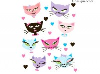 Vector cartoon cat vector material