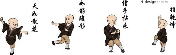 Vector martial arts monks