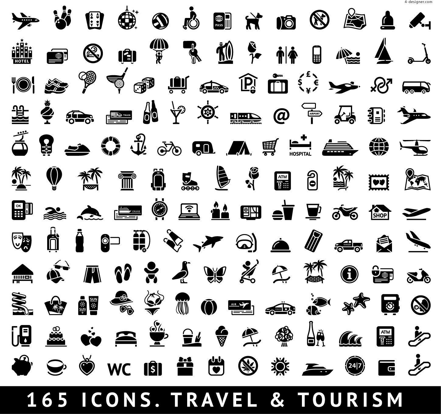 165 tourism related icons
