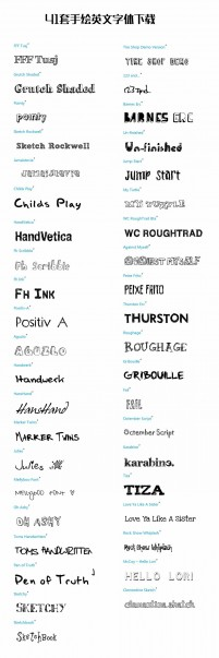 41 sets of hand painted English Font Download