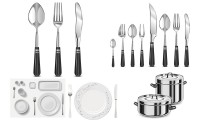 A set of kitchen utensils exquisite realistic vector