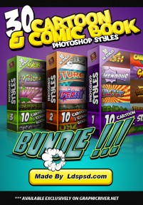 PS Styles Cartoon 30 Cartoon and Comic Book Styles Bundle