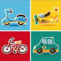 The flat cartoon vehicles vector material