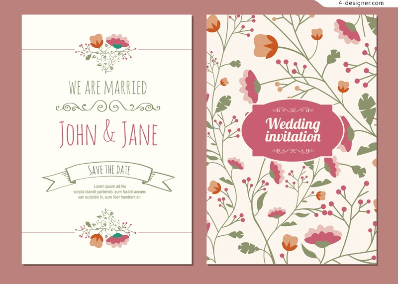 Vector material cartoon flowers wedding invitations