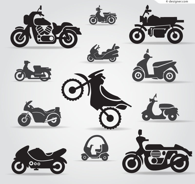 12 Motorcycle silhouette design vector material