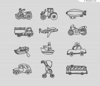 12 hand painted vehicle design vector material