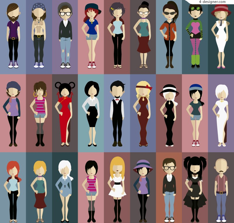 27 stylish character design vector material