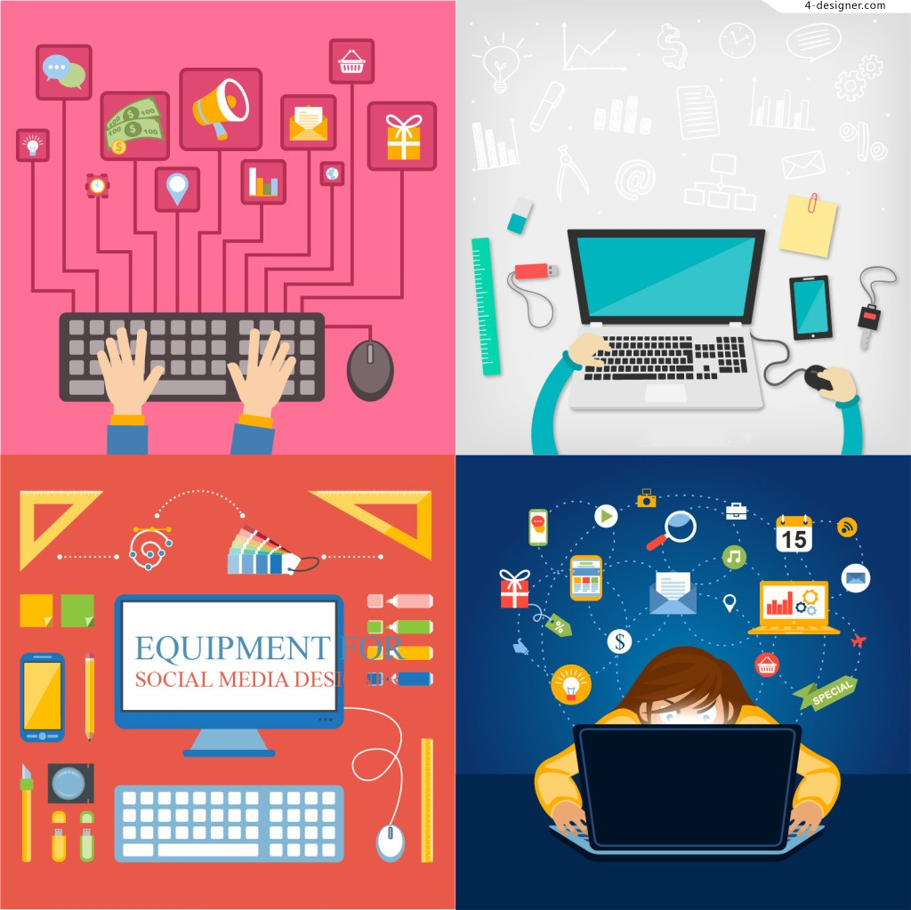 4 flat design business office icon vector material