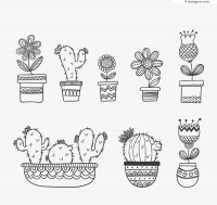 8 Hand painted flower pot design vector material