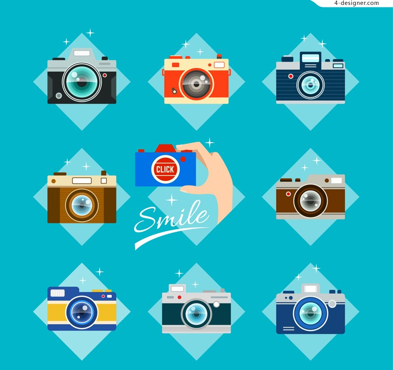 9 color camera designed Vectors