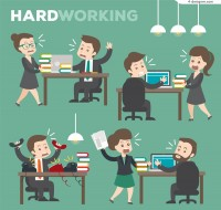 Busy business people working Vectors