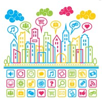 Colorful social media icon force