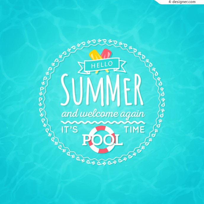 Hello Summer swimming pool poster design vector material