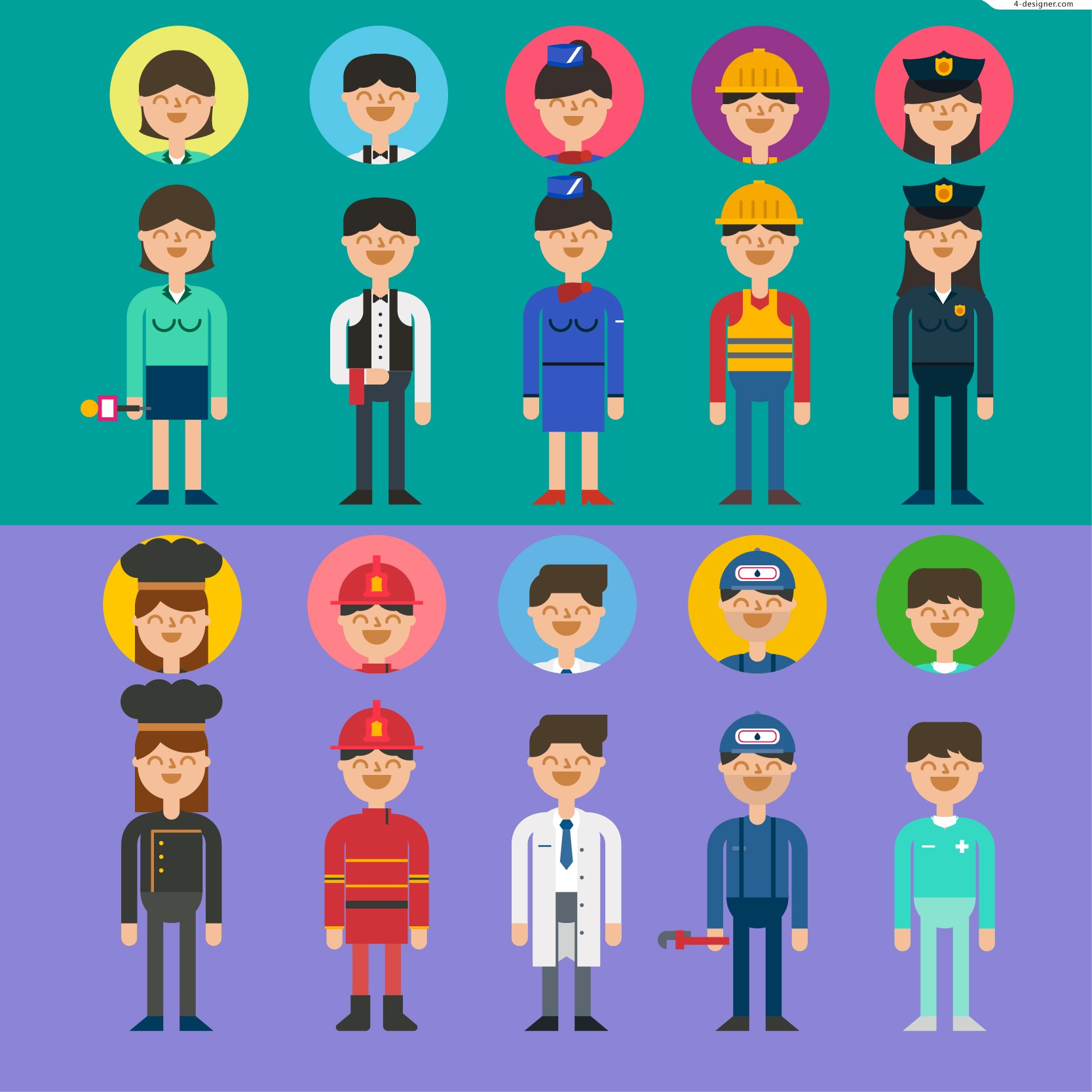 The 10 occupational figures and head vector material