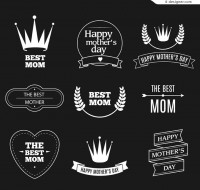 Trend vector icons white Mother s Day tag