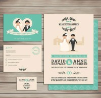 Cartoon wedding card vector