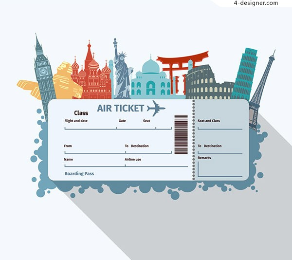 Air ticket and tourist architecture