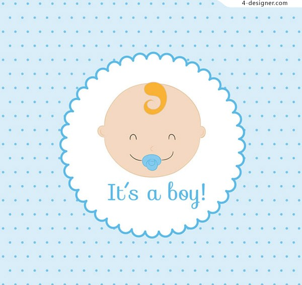 Baby head greeting card