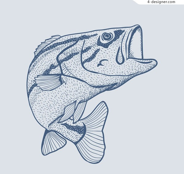 Blue hand painted fish vector