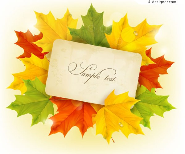 Card vectors on autumn leaves