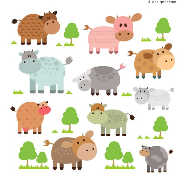 Cartoon cattle and trees