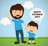 Cartoon father and son holiday card