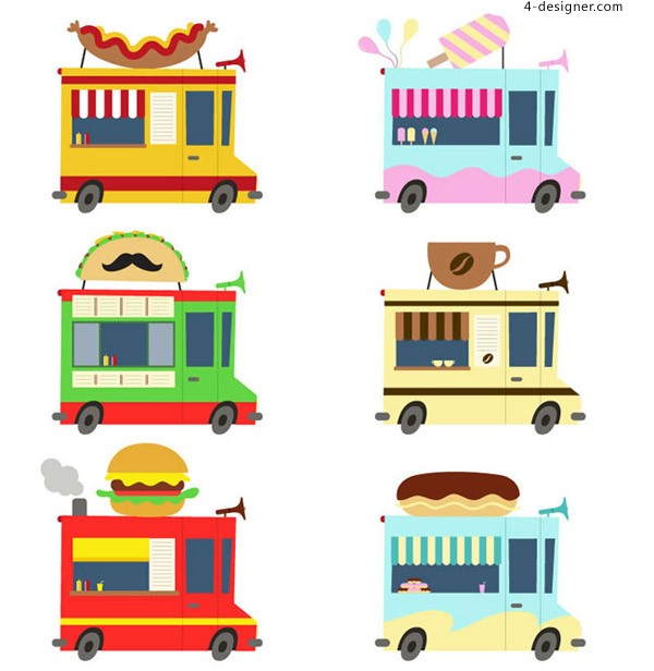 Cartoon food fast food car