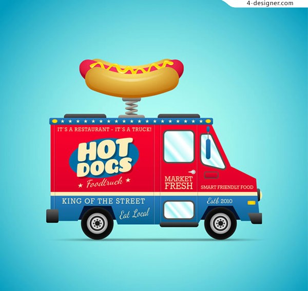 Cartoon hot dog snack car