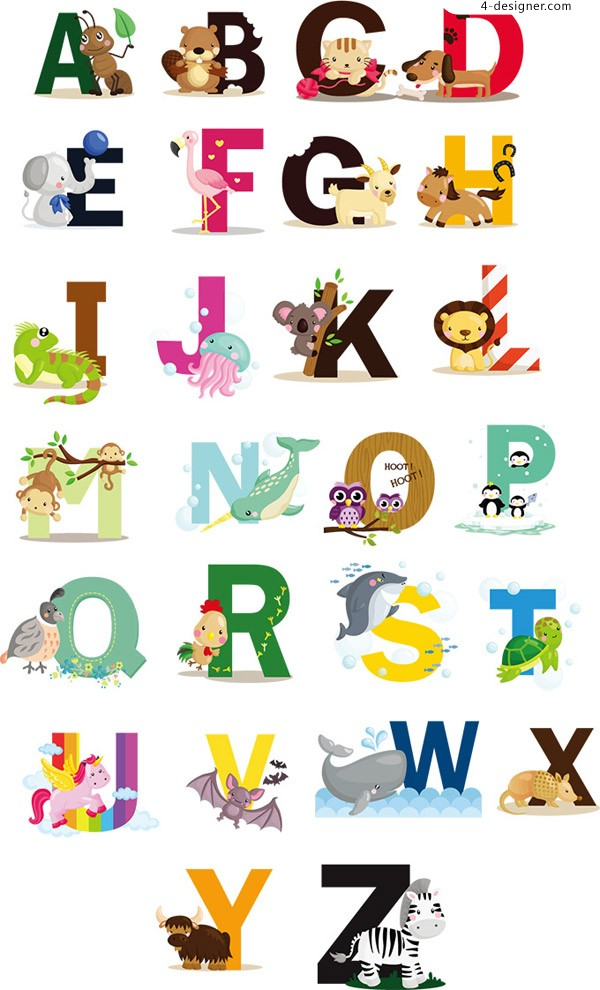 Cartoon letters and animals