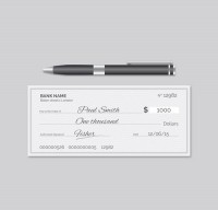 Cheque and signature pen