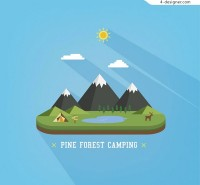 Forest camping scenery