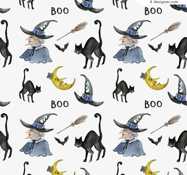 Halloween witches and black cat