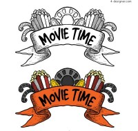 Hand painted movie elements scroll