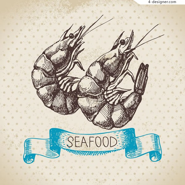 Hand painted shrimp vector