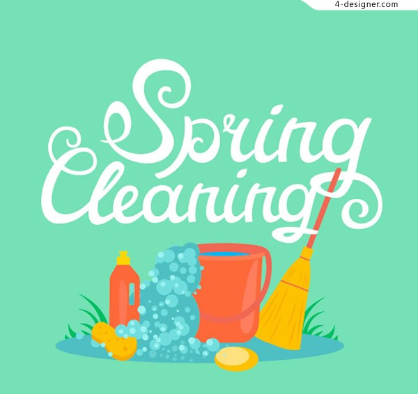 Illustration of spring cleaning