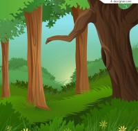 Landscape in cartoon forest