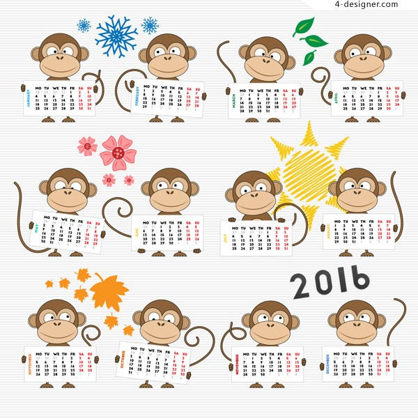 Monkey year calendar vector