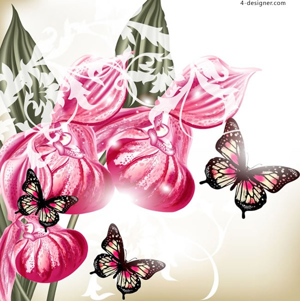 Orchid and butterfly vectors