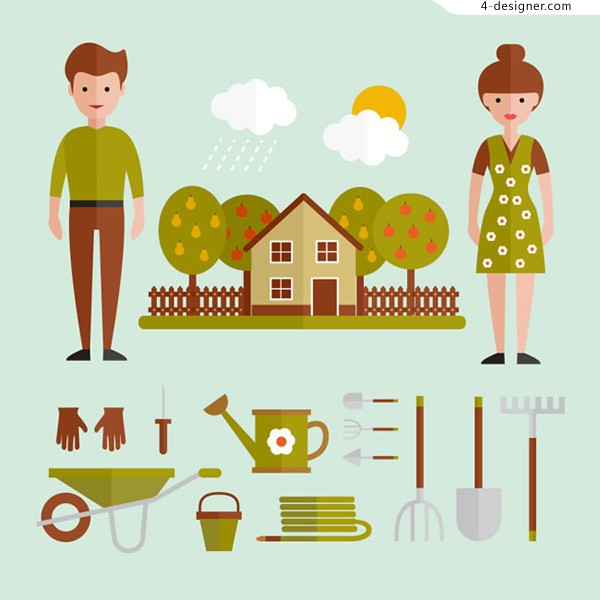 People and gardening tools